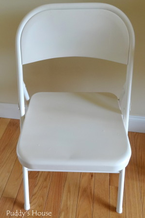 Folding Chair Makeover - blue chair after