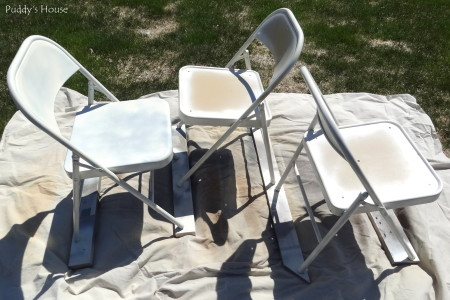 Folding Chair Makeover - chairs with one coat paint