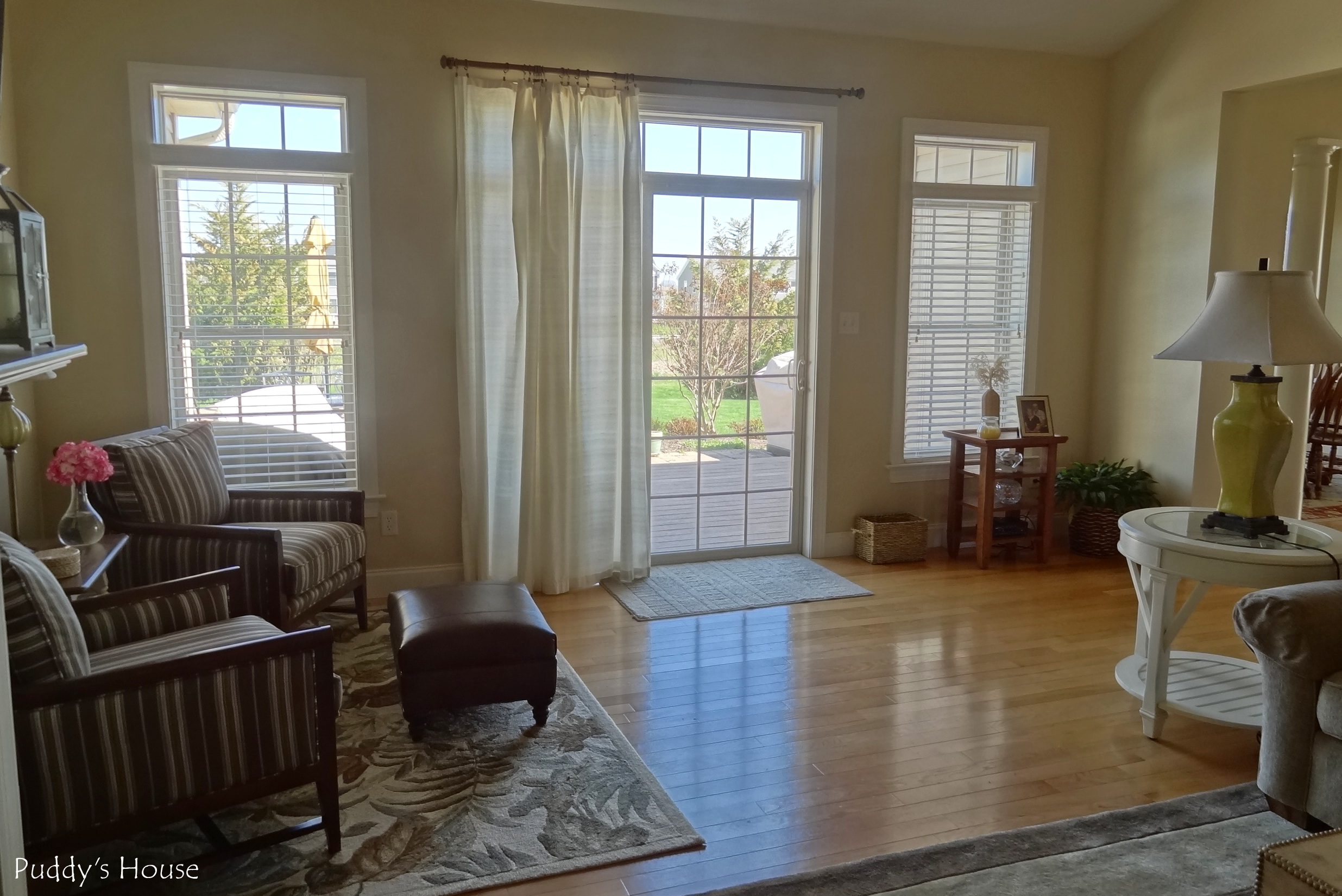 Living Room Reveal - looking out to patio doors