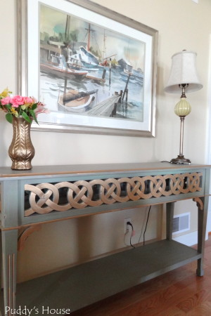 Living Room Reveal - ribbon table and painting