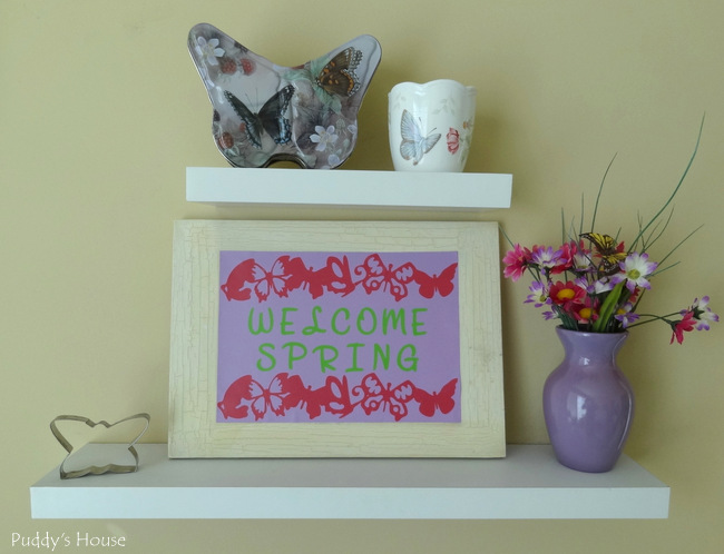 Expressions Vinyl - Welcome Spring Canvas on shelves