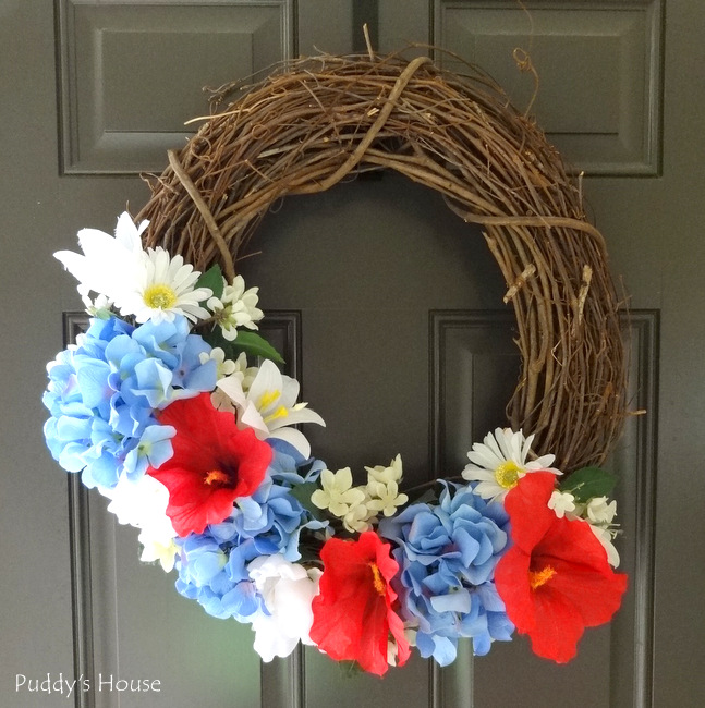 DIY Patriotic Wreath - on door