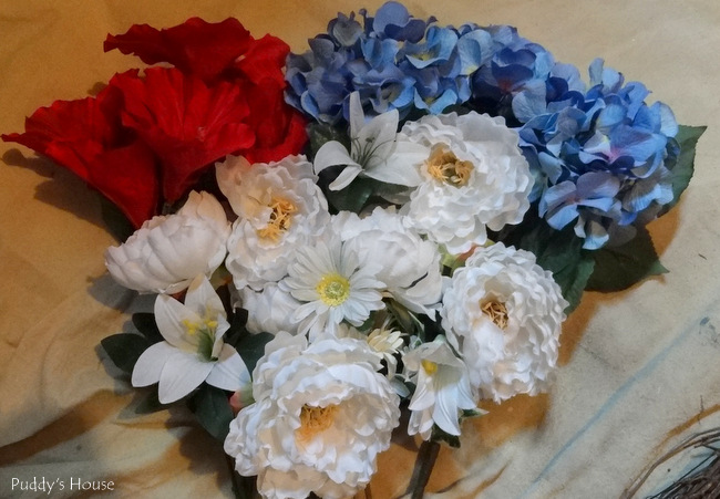DIY Patriotic Wreath - red white and blue flowers