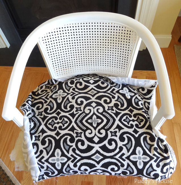 ugly to pretty chair - fabric in place