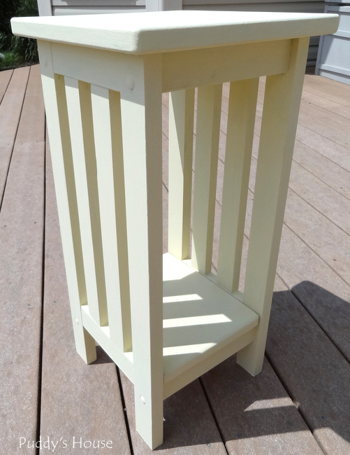 DIY Plant Stand Makeover - After 2 coats of Annie Sloan Cream