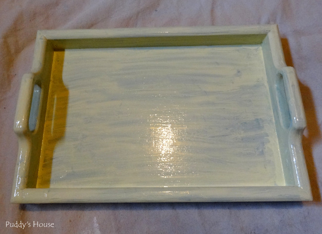 Tray makeover -  tray after valspar spring green paint