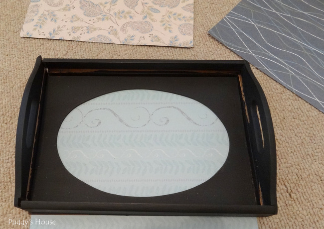 Tray makeovers - after paint and wax choosing scrapbook paper