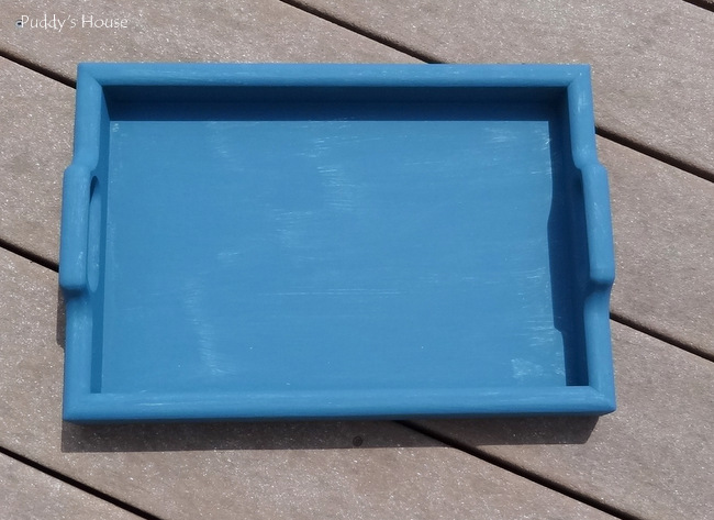 Tray makeovers - tray after two coats aubusson blue chalk paint