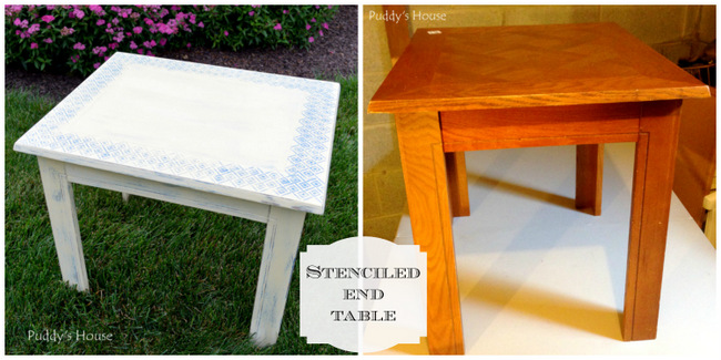 1-Stenciled End Table collage