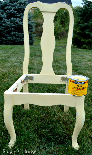 Chalk paint chair makeover - after distressing before wax