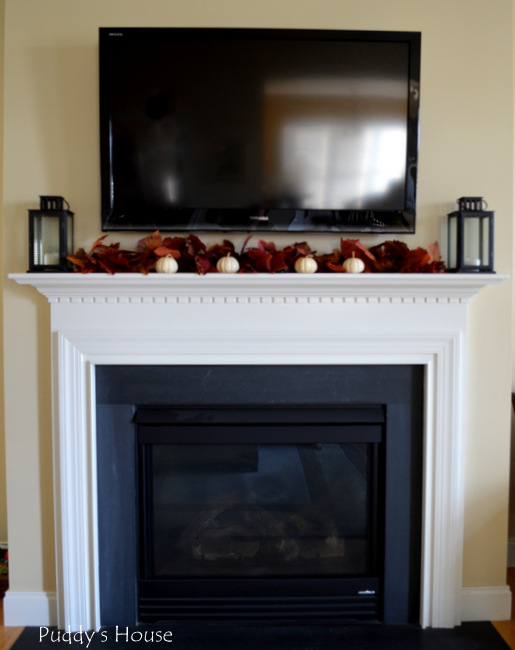 Fall Home Tour - Mantle with TV above