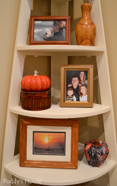 Fall Home Tour - corner shelf close up