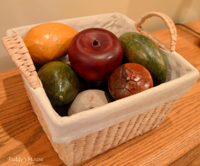 Fall Home Tour - wooden fruit in basket