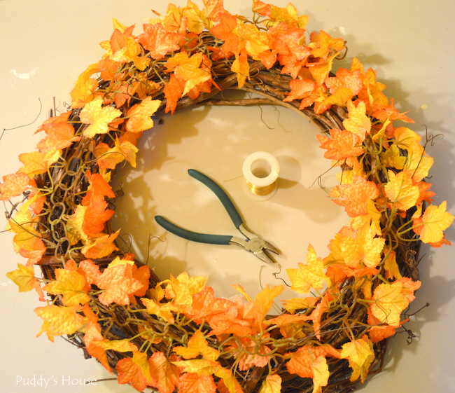 Fall porch decor - wreath in progress