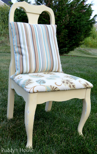 chalk paint chair makeover - After with pillow