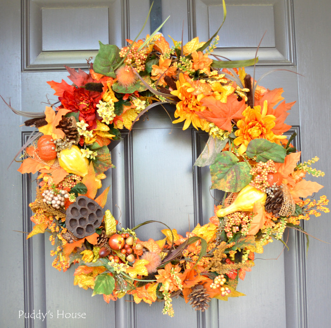 fall porch decor - diy wreath 2