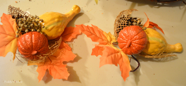 fall porch decor - faux gourd picks