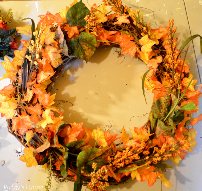fall porch decor - wreath in progress (2)