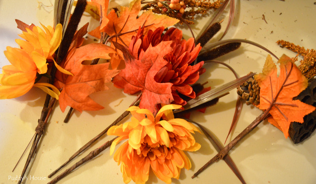 fall porch decor - wreath picks