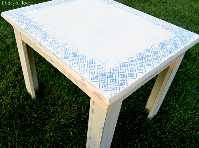 stenciled end table - after distressing