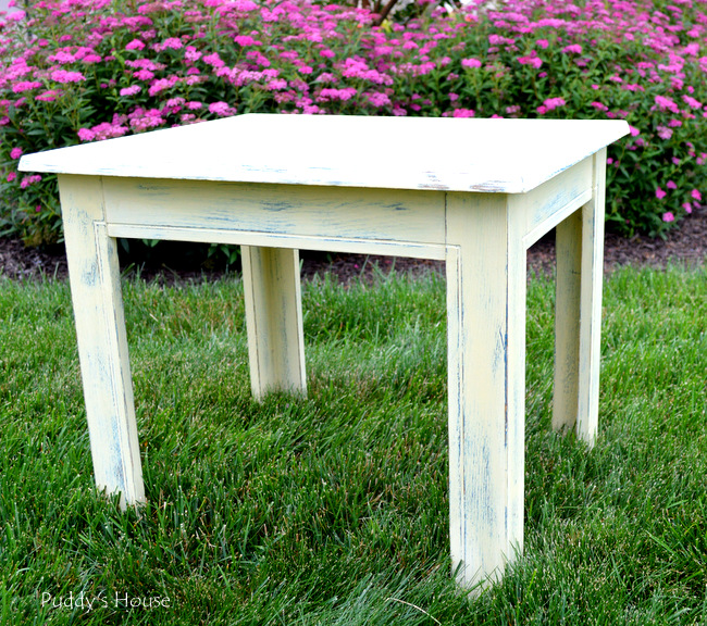 stenciled end table - after