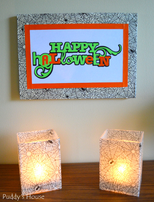 DIY Halloween Decor - lit candles and hanging canvas