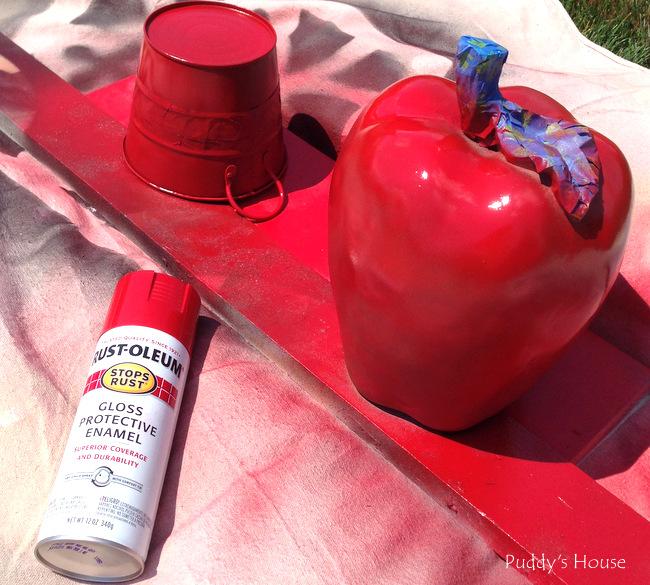 apple - red spray paint