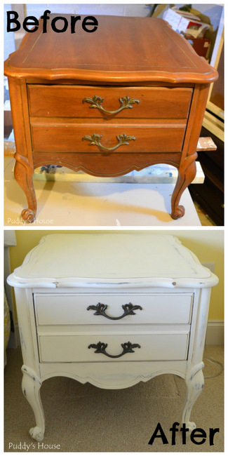Chalk Paint Nightstands before and after