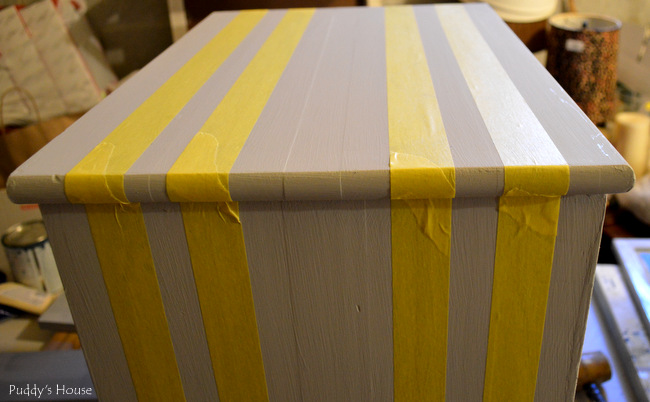 striped side table - taped for stripes