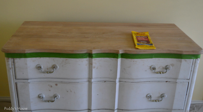 guest room dresser - prepped for stain