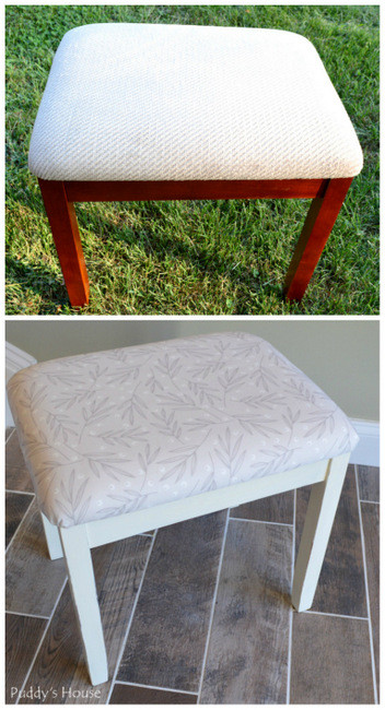 1-fabric stool - before and after