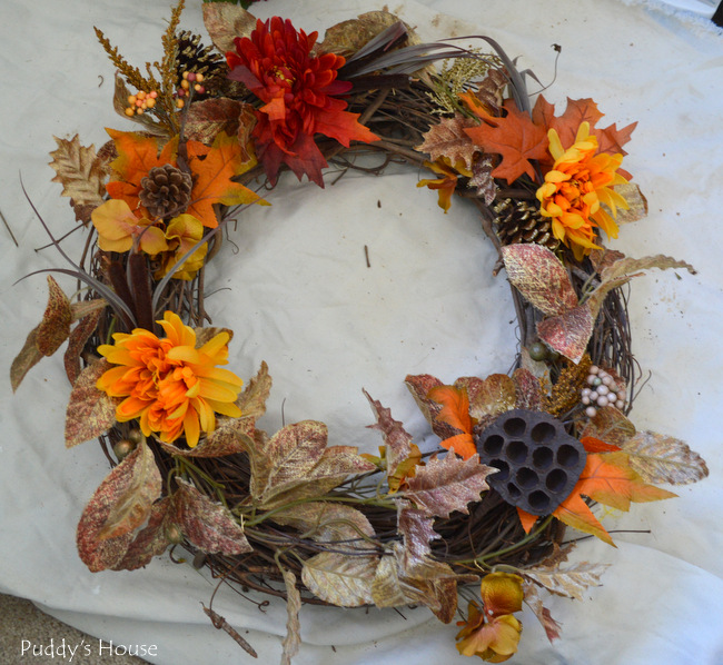 DIY Fall Wreath - flowers 1