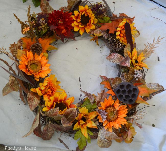 DIY Fall Wreath - flowers2