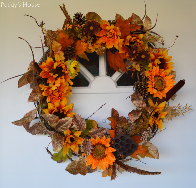 DIY Fall Wreath - on door